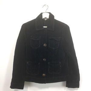 J. Jill XS Jacket Black Corduroy Snap Button